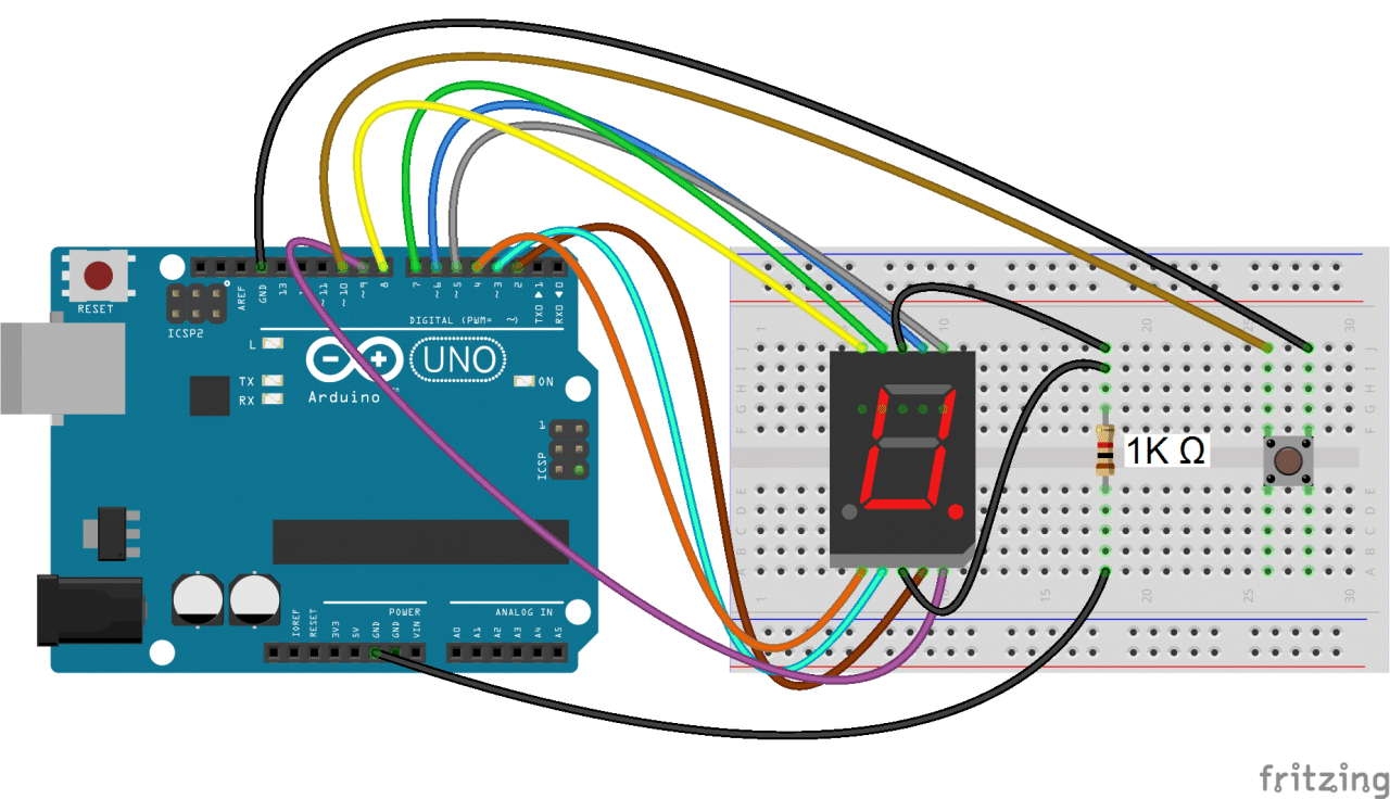 How To Set Up 7 Segment Displays On The Arduino Circuit Basics X 10 3 Way Switch Wiring Diagram Then Upload This Program