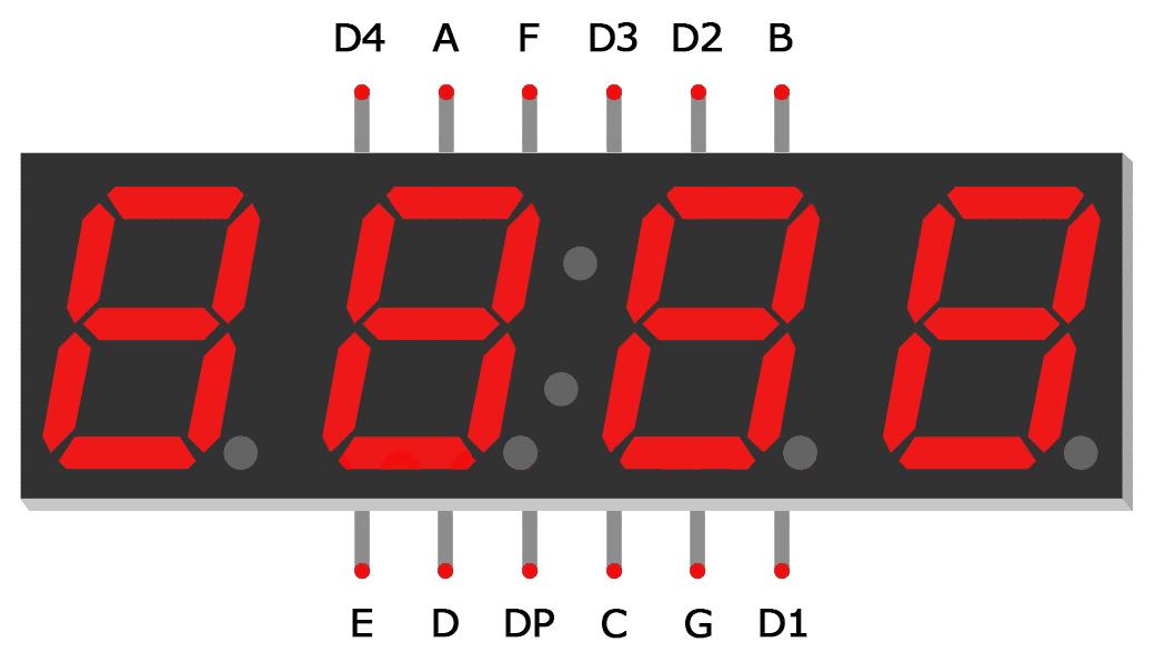 Arduino 7-Segment Tutorial - 4 Digit Display Pin Diagram
