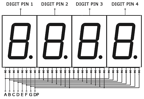 Arduino 7-Segment Tutorial - 4 Digit Display Schematic