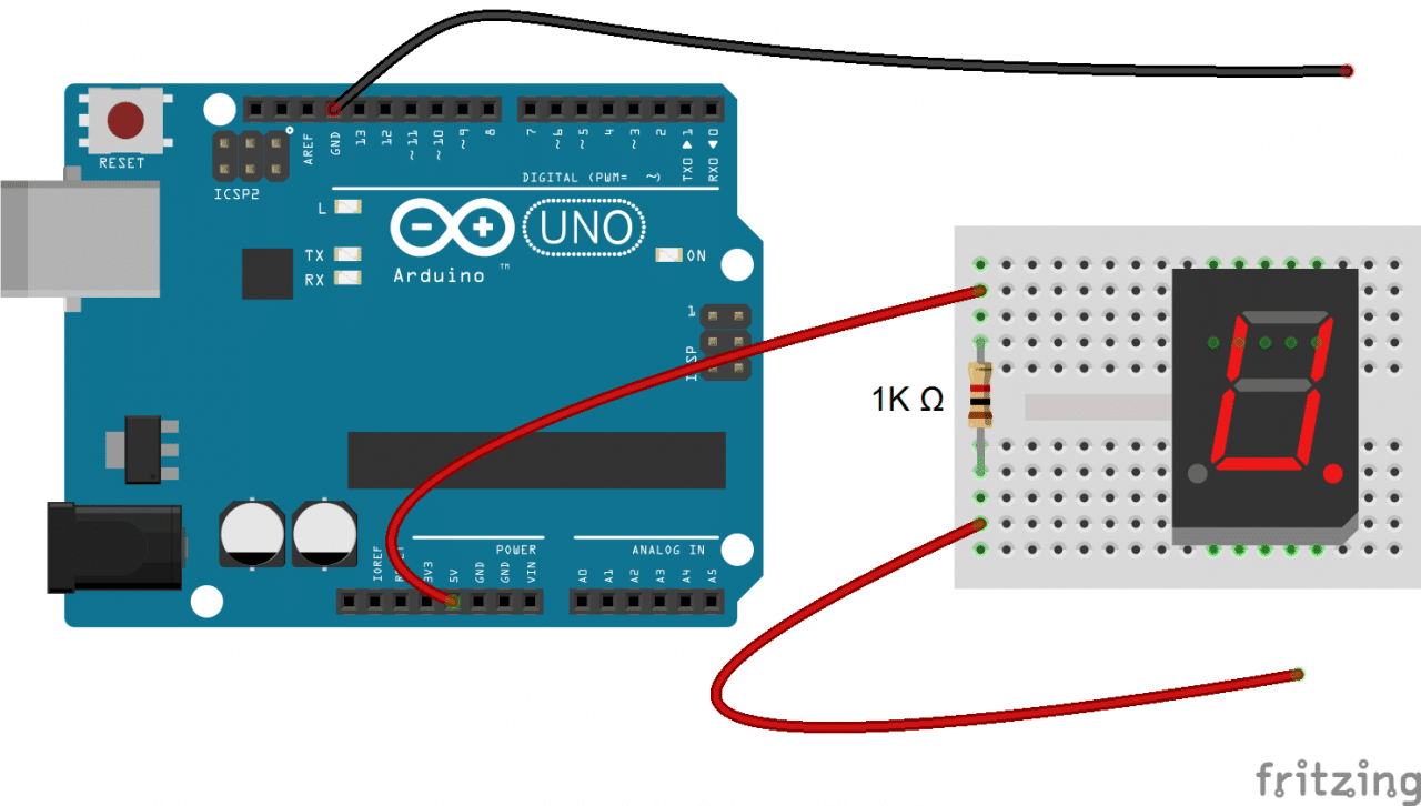How To Set Up 7 Segment Displays On The Arduino Circuit Basics Wiring A Light From Another Connect Ground Black Wire Any Pin Of Display Then Insert Positive Red Into Each One Other Pins If No Segments