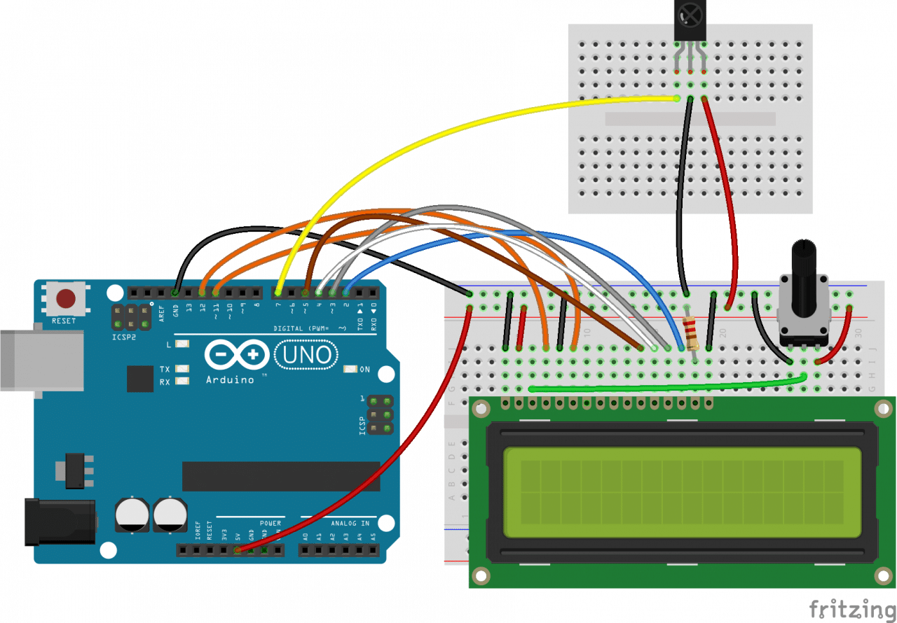 Check out our article on setting up and programming an LCD on the Arduino  for more information on programming the LCD, but the basic setup looks like  this: