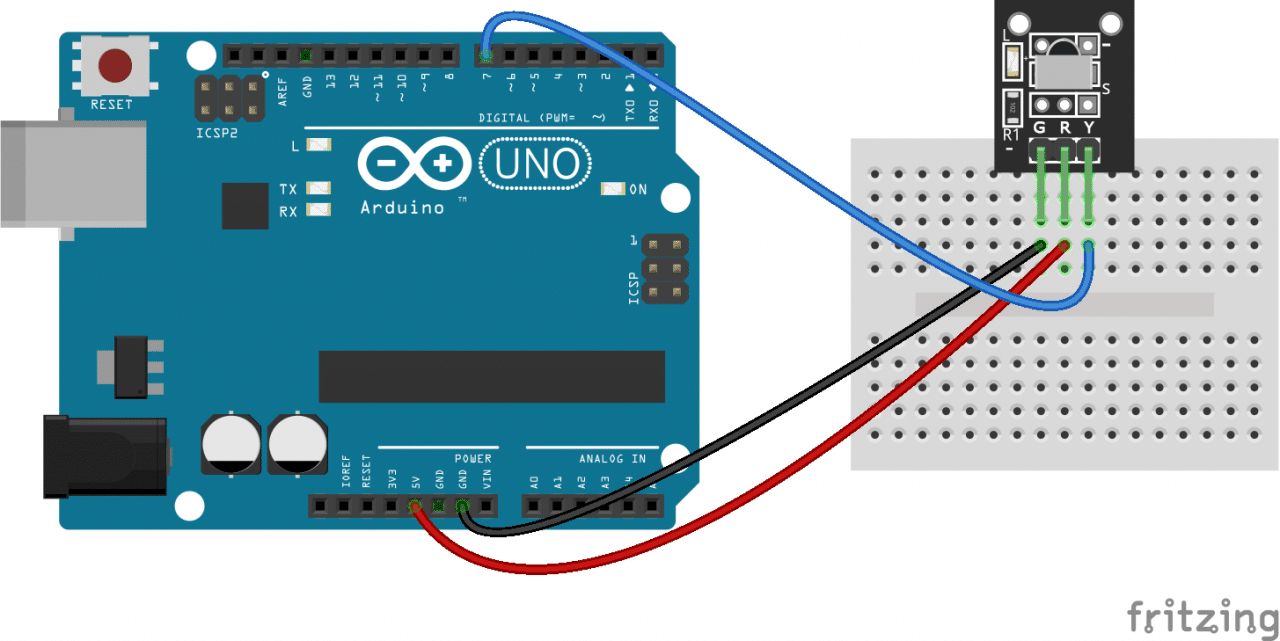 How To Set Up An Ir Remote And Receiver On Arduino Circuit Basics Wiring Diagram For Uv Light Connect A Breakout Board Mounted Hook It The Like This