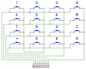 Arduino Keypad Tutorial - 4X4 Keypad Schematic