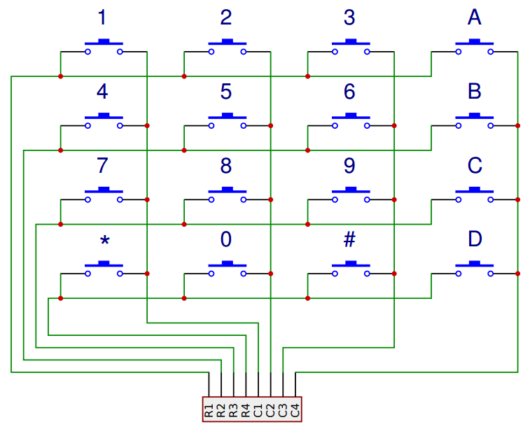 The Schematic For A 4x4 Keypad Shows How Rows And Columns Are Connected