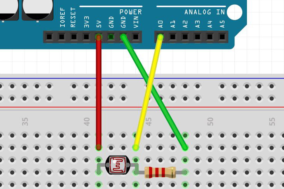 Arduino Light Dependent Resistor - Wiring Diagram