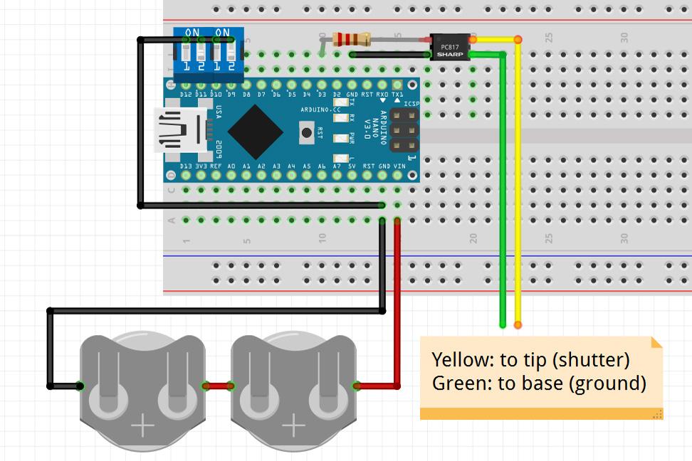 Arduino DSLR Intervalometer - Wiring Diagram