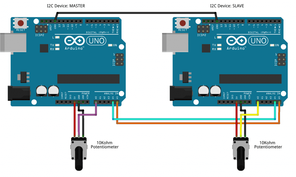 How to Set Up I2C Communication for Arduino - Wiring Diagram