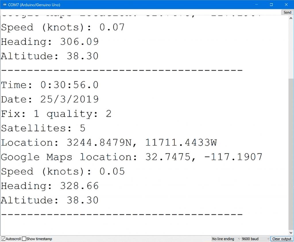 Arduino GPS Sensor Parsed NMEA Sentences Output on Serial Monitor.png