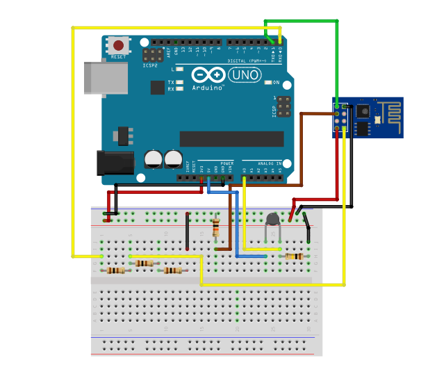 Setting up Email Notifications Using ESP8266 and IFTTT - Schematic