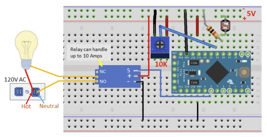 Using Sensor Data to Control a 5V Relay on the Arduino - Relay Controlled by Photoresistor Wiring Diagram