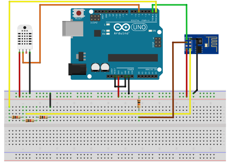 How to Send Tweets With an Arduino - ESP8266 and DHT22 Wiring Diagram