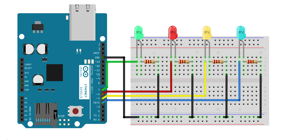 Control GPIO Pins With an Ethernet Connected Arduino Web Server -Wiring Diagram