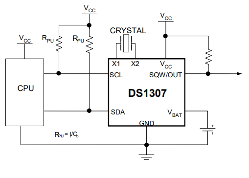 What are Real-Time Clocks? - DS1307 Operating Circuit