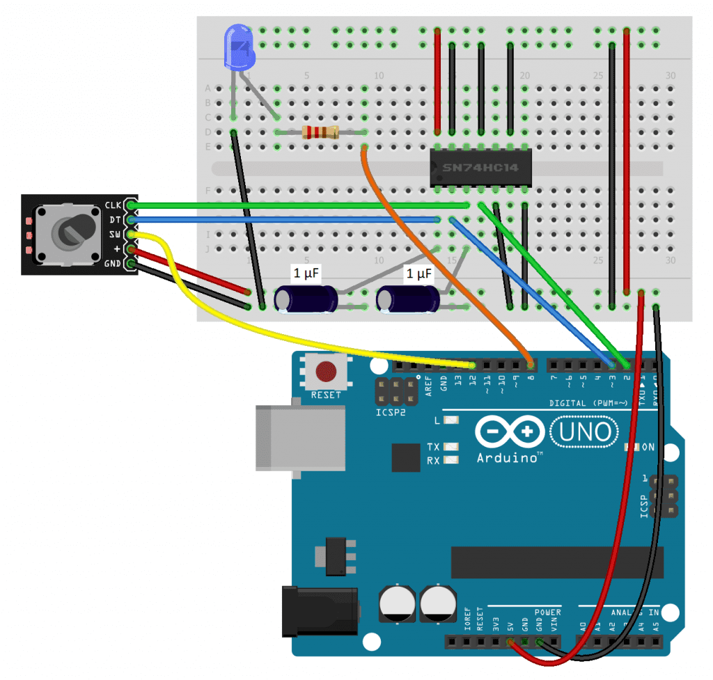 Debounced Rotary Encoder With LED and Interrupts WIRING DIAGRAM