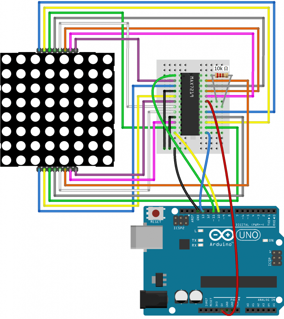 Wiring Diagram for the 1088AS LED Matrix, MAX7219, and the Arduino