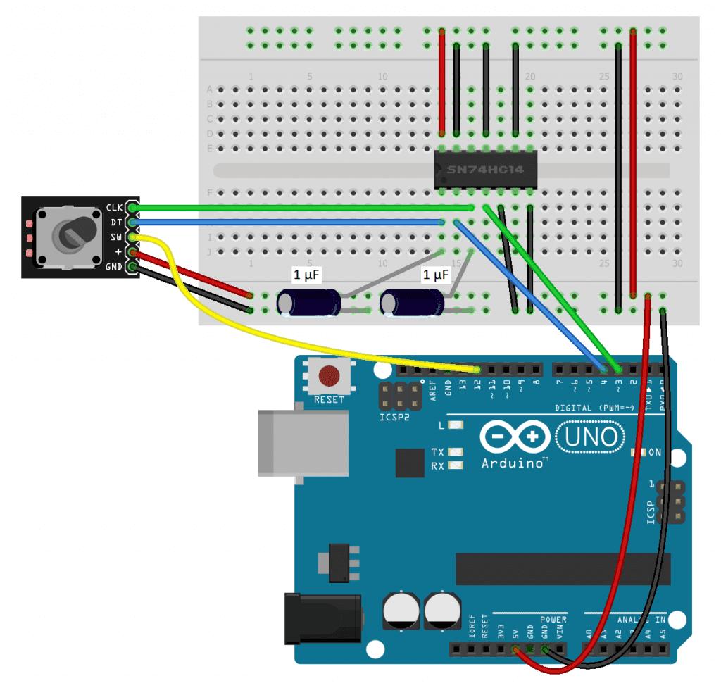 Rotary Encoder Debounced With Schmitt Trigger - Wiring Diagram