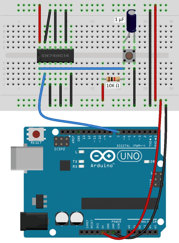 Switch Debouncing with SN74HC14N Schmitt Trigger
